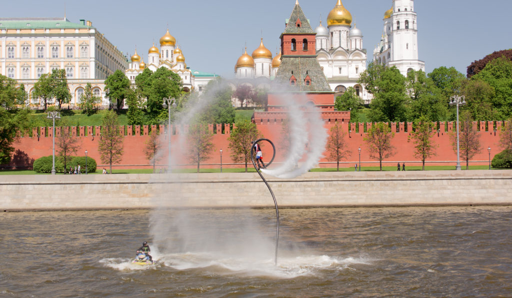 Кремль, красная площадь, флайборд